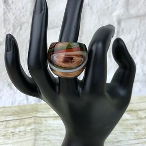Brown Red Green White Swirl Chunky Glass Ring New